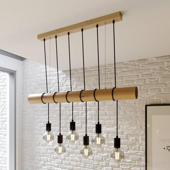 Suspension Eviton en bois, à 6 lampes naturel