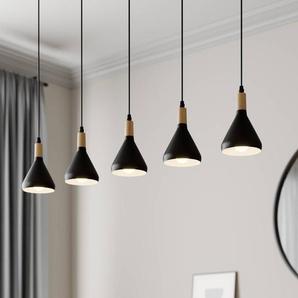 Suspension LED Arina avec 5 abat-jour noirs