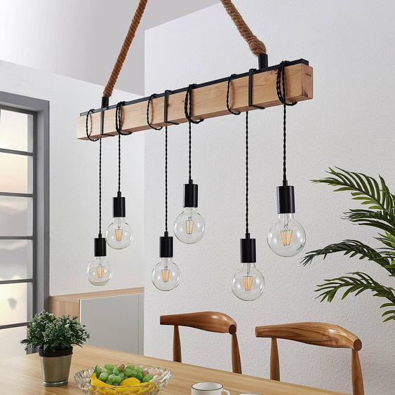 Suspension linéaire Cintia avec bois, à 6 lampes