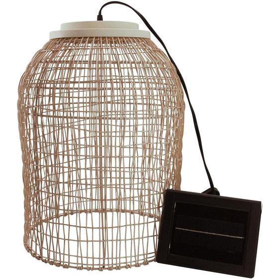 Suspension solaire bohème naturel style vannerie tressée LED blanc chaud KO SAMUY H46cm - LUMISKY