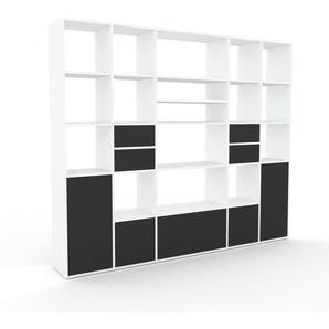 Système détagère - blanc, design, rangements, avec porte anthracite et tiroir anthracite - 231 x 195 x 35 cm