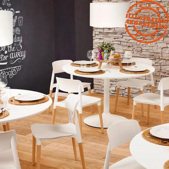 Table à diner/de bureau ronde BARABAR en bois blanc - Ø 120 cm