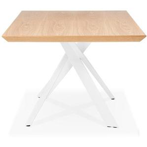 Table à diner WALABY en bois finition naturelle avec pied central en x blanc - 200x100 cm