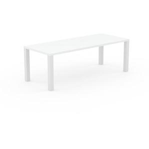 Table à manger - Blanc, design, pour salle à manger ou cuisine plateau de qualité - 220 x 76 x 90 cm, personnalisable