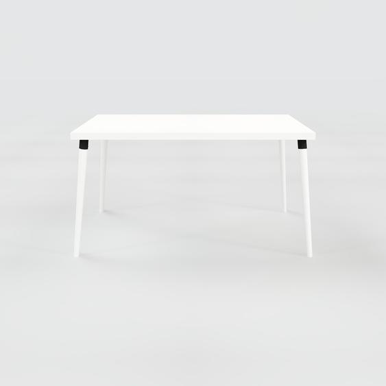Table à manger - Blanc, design scandinave, pour salle à manger ou cuisine nordique - 140 x 75 x 90 cm, personnalisable