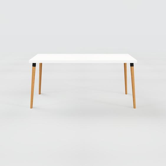 Table à manger - Blanc, design scandinave, pour salle à manger ou cuisine nordique - 160 x 75 x 70 cm, personnalisable