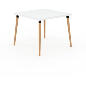 Table à manger - Blanc, design scandinave, pour salle à manger ou cuisine nordique - 90 x 75 x 90 cm, personnalisable