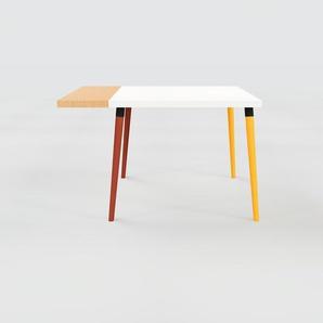 Table à manger - Blanc, design scandinave, pour salle à manger ou cuisine nordique, table extensible à rallonge - 120 x 75 x 90 cm