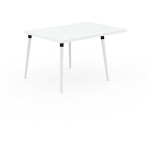 Table à manger - Blanc, design scandinave, pour salle à manger ou cuisine nordique, table extensible à rallonge - 130 x 75 x 90 cm