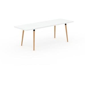 Table à manger - Blanc, design scandinave, pour salle à manger ou cuisine nordique, table extensible à rallonge - 220 x 75 x 70 cm