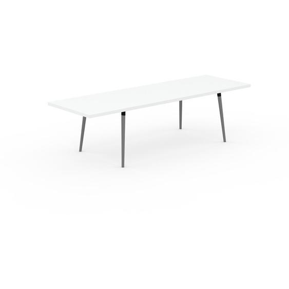Table à manger - Blanc, design scandinave, pour salle à manger ou cuisine nordique, table extensible à rallonge - 280 x 75 x 90 cm