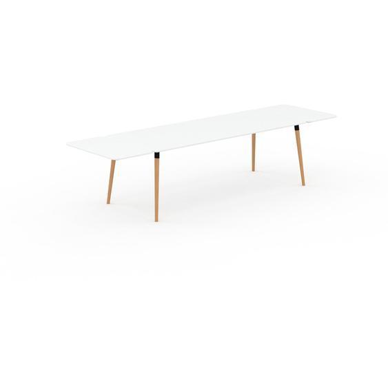 Table à manger - Blanc, design scandinave, pour salle à manger ou cuisine nordique, table extensible à rallonge - 320 x 75 x 90 cm