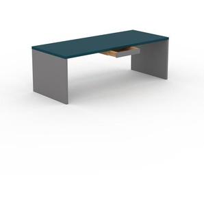 Table à manger - bleu, design, avec tiroir gris - 220 x 75 x 90 cm, personnalisable