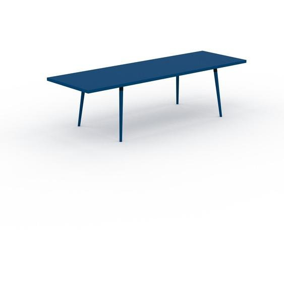 Table à manger - Bleu, design scandinave, pour salle à manger ou cuisine nordique, table extensible à rallonge - 280 x 75 x 90 cm