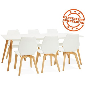 Table à manger design MADY blanche style scandinave - 200x90 cm