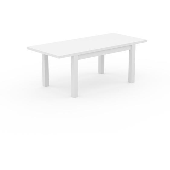 Table à manger extensible - Blanc, moderne, pour salle à manger ou cuisine, avec deux rallonges - 200 x 76 x 90 cm, personnalisable