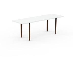Table à manger extensible - Blanc, moderne, pour salle à manger ou cuisine, avec deux rallonges - 220 x 75 x 70 cm, personnalisable