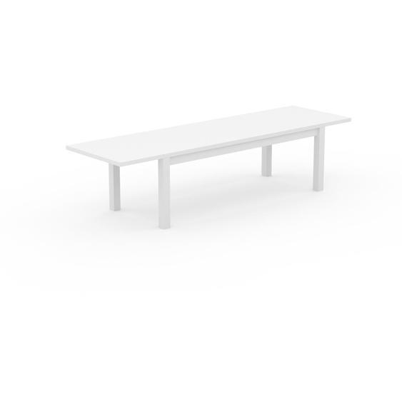 Table à manger extensible - Blanc, moderne, pour salle à manger ou cuisine, avec deux rallonges - 310 x 76 x 90 cm, personnalisable
