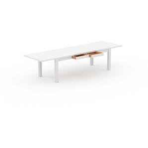 Table à manger extensible - Blanc, moderne, pour salle à manger ou cuisine, avec deux rallonges - 320 x 76 x 90 cm, personnalisable