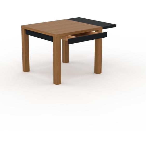 Table à manger extensible - Chêne, contemporaine, pour salle à manger ou cuisine, avec une rallonge Noir - 120 x 76 x 90 cm, personnalisable
