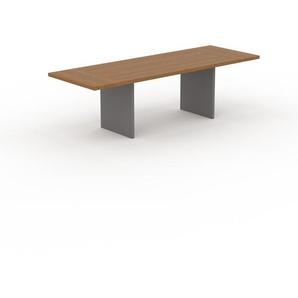 Table à manger extensible - Chêne, moderne, pour salle à manger ou cuisine, avec deux rallonges - 260 x 75 x 90 cm, personnalisable