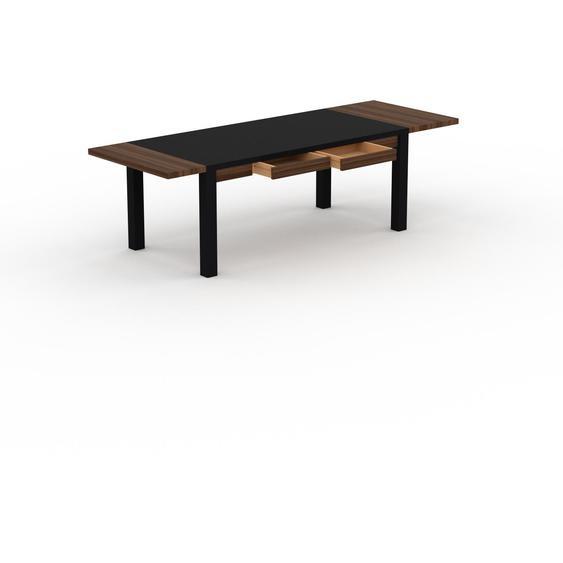 Table à manger extensible - Noir, moderne, pour salle à manger ou cuisine, avec deux rallonges - 260 x 76 x 90 cm, personnalisable