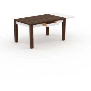 Table à manger extensible - Noyer, contemporaine, pour salle à manger ou cuisine, avec une rallonge Blanc - 180 x 76 x 90 cm, personnalisable