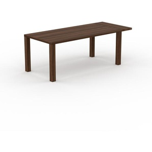 Table à manger extensible - Noyer, contemporaine, pour salle à manger ou cuisine, avec une rallonge Noyer - 210 x 76 x 90 cm, personnalisable