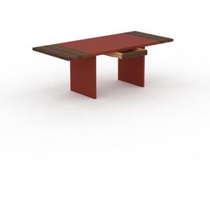 Table à manger extensible - Rouge, moderne, pour salle à manger ou cuisine, avec deux rallonges - 210 x 75 x 90 cm, personnalisable