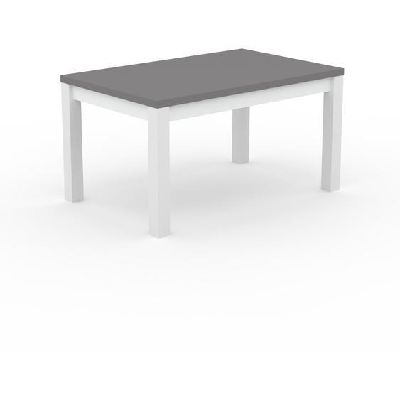 Table à manger - Gris, avec cadre Blanc - 140 x 76 x 90 cm, personnalisable