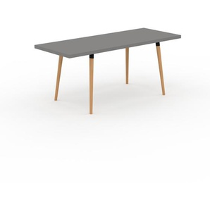 Table à manger - Gris, design scandinave, pour salle à manger ou cuisine nordique, table extensible à rallonge - 180 x 75 x 70 cm