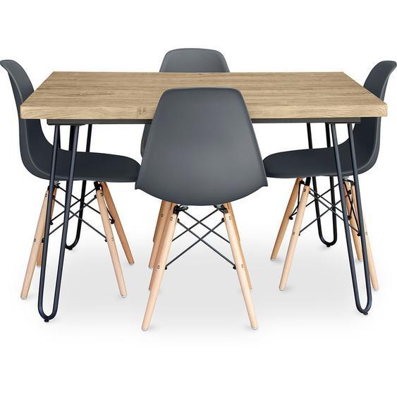 Table à manger Hairpin 120x90 + 4 chaise Deswick Gris foncé - PRIVATEFLOOR