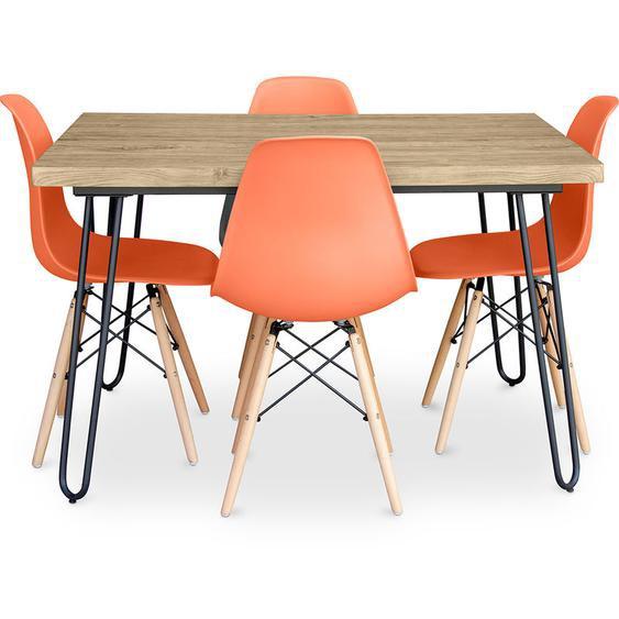 Table à manger Hairpin 120x90 + 4 chaise Deswick Orange - PRIVATEFLOOR