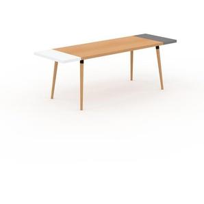Table à manger - Hêtre, design scandinave, pour salle à manger ou cuisine nordique, table extensible à rallonge - 220 x 75 x 70 cm