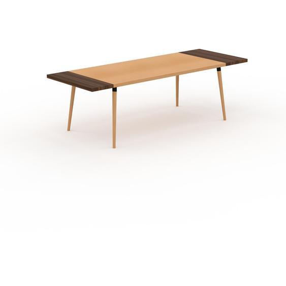 Table à manger - Hêtre, design scandinave, pour salle à manger ou cuisine nordique, table extensible à rallonge - 250 x 75 x 90 cm