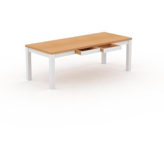 Table à manger - Hêtre, moderne, avec tiroir Blanc et cadre Blanc - 220 x 76 x 90 cm