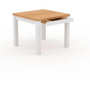 Table à manger - Hêtre, moderne, avec tiroir Blanc et cadre Blanc - 90 x 76 x 90 cm