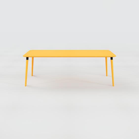 Table à manger - Jaune, design scandinave, pour salle à manger ou cuisine nordique - 220 x 75 x 90 cm, personnalisable