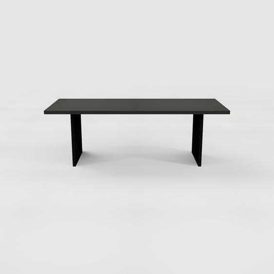 Table à manger - Noir, design, pour salle à manger ou cuisine plateau de qualité - 220 x 75 x 90 cm, personnalisable