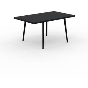 Table à manger - Noir, design scandinave, pour salle à manger ou cuisine nordique, table extensible à rallonge - 150 x 75 x 90 cm