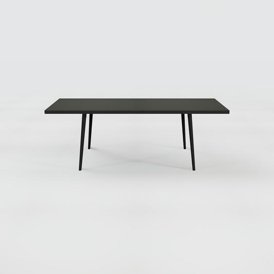 Table à manger - Noir, design scandinave, pour salle à manger ou cuisine nordique, table extensible à rallonge - 220 x 75 x 90 cm