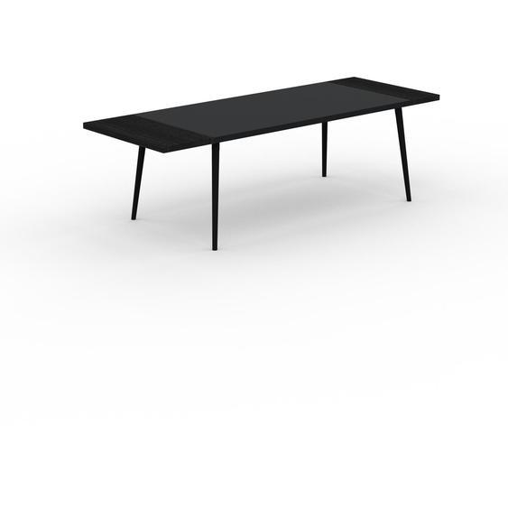 Table à manger - Noir, design scandinave, pour salle à manger ou cuisine nordique, table extensible à rallonge - 250 x 75 x 90 cm