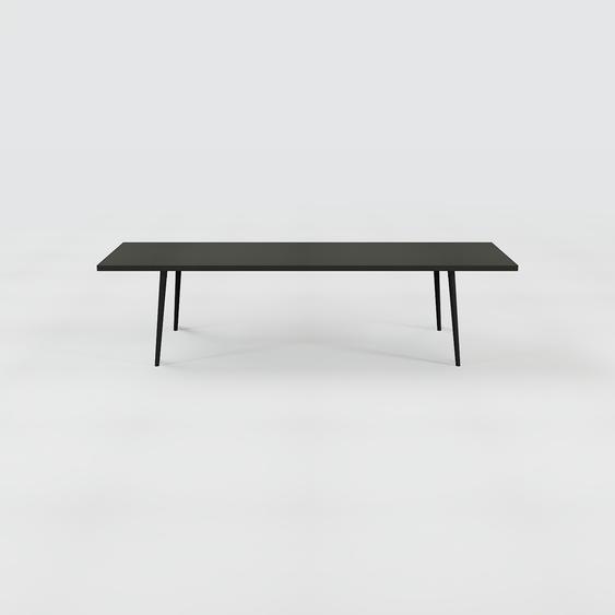 Table à manger - Noir, design scandinave, pour salle à manger ou cuisine nordique, table extensible à rallonge - 300 x 75 x 90 cm