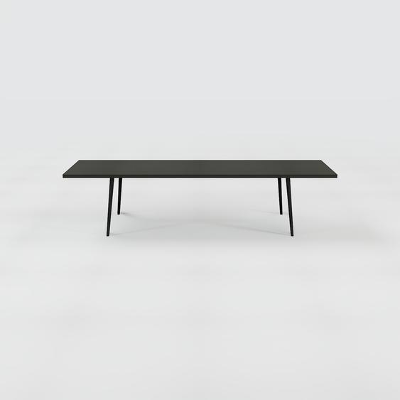 Table à manger - Noir, design scandinave, pour salle à manger ou cuisine nordique, table extensible à rallonge - 320 x 75 x 90 cm