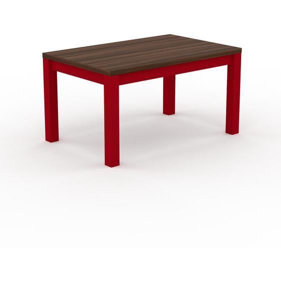 Table à manger - Noyer, avec cadre Rouge - 140 x 76 x 90 cm, personnalisable
