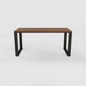 Table à manger - Noyer, design, pour salle à manger ou cuisine plateau de qualité - 160 x 75 x 70 cm, personnalisable