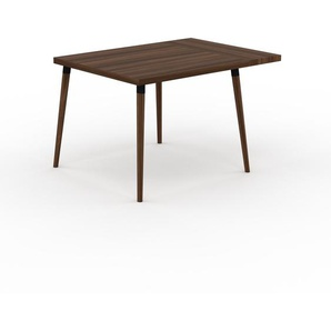 Table à manger - Noyer, design scandinave, pour salle à manger ou cuisine nordique, table extensible à rallonge - 120 x 75 x 90 cm