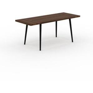 Table à manger - Noyer, design scandinave, pour salle à manger ou cuisine nordique, table extensible à rallonge - 180 x 75 x 70 cm