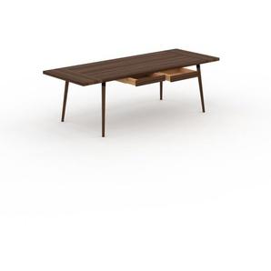 Table à manger - Noyer, design scandinave, pour salle à manger ou cuisine nordique, table extensible à rallonge - 240 x 75 x 90 cm