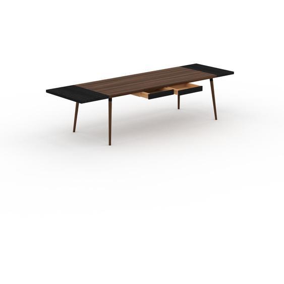 Table à manger - Noyer, design scandinave, pour salle à manger ou cuisine nordique, table extensible à rallonge - 310 x 75 x 90 cm